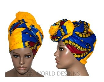 Yellow/Blue Trendy African Fabric head wrap scarf / African headwrap/ African hair accessory fabric/ African Head scarf/ HT120