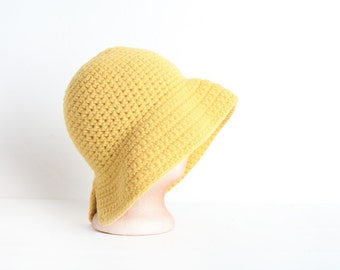 Vintage Women's Yellow Wool Cloche Hat, Made in Italy