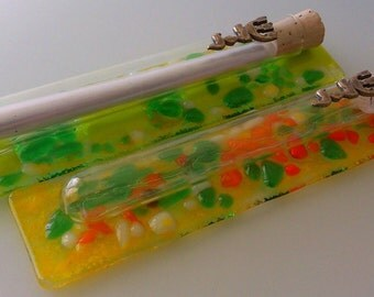 2 Mezuzah Glass with tube Green, yellow, red and white 15cm Handmadee In ISRAEL Judaica Direct From The Artist