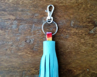 Genuine Leather Key Fob Southern Blue