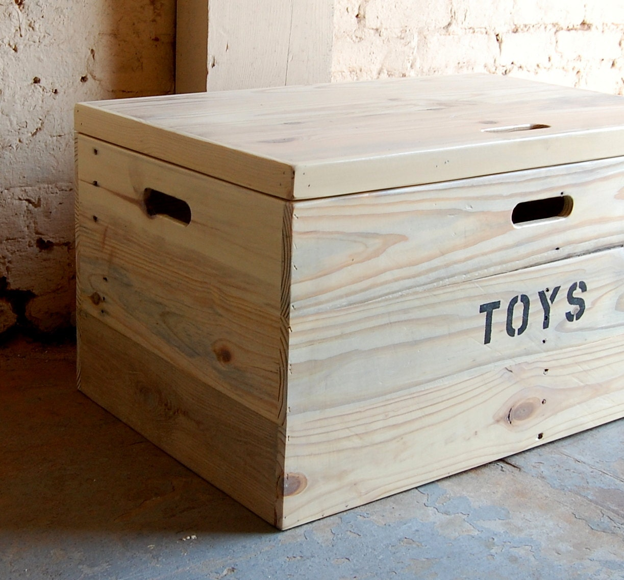 Wooden Crate Coffee Table Toy Chest Large Storage Box
