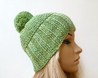 Knitting Pattern For Womens Bobble Hat : Super Chunky Pom Pom Hat Wool Alpaca Pom Pom Hat Women