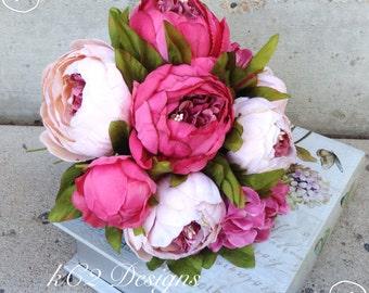 Silk flower wedding bouquet. Silk bouquet. Bridal bouquet. YOUR COLORS. Pink bouquet. Peony bouquet. Silk peony. Blush wedding. 2016 colors