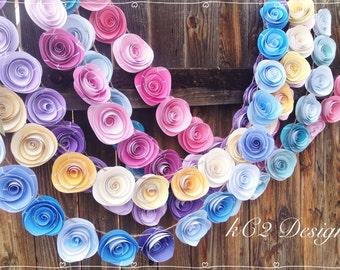 Paper Flower Garland spring garland. Wedding Garland. Paper flower garland.  Pastel garland. Nursery decor. Beach wedding.