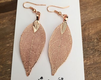 Real leaf earrings available in silver/ rose gold/ gun metal / gold