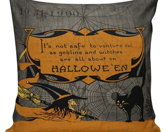 Halloween Pillow, Halloween Decor, Vintage Witch, Creepy, Burlap Cotton Throw Pillow Cover #HA0230