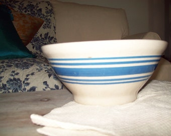 Cream and Blue Banded Stoneware Bowl
