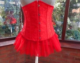 boned underbust corset net tutu wedding christmas party fairy gothic burlesque style boned satin brocade underbust corset