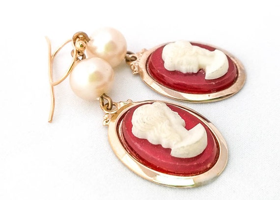 Vintage pearl with gold framed lucite red orange white victorian lady dangle earrings