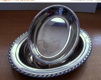 ON SALE Wm Rogers Silverplate Double Vegetable Bowl