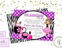 Glamour Party Invitation - Printable, Girls Birthday Invitation, Zebra Print and Purple