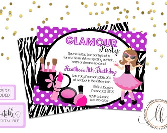 Glamour Party Invitation - Printable, Girls Birthday Invitation, Zebra Print and Purple