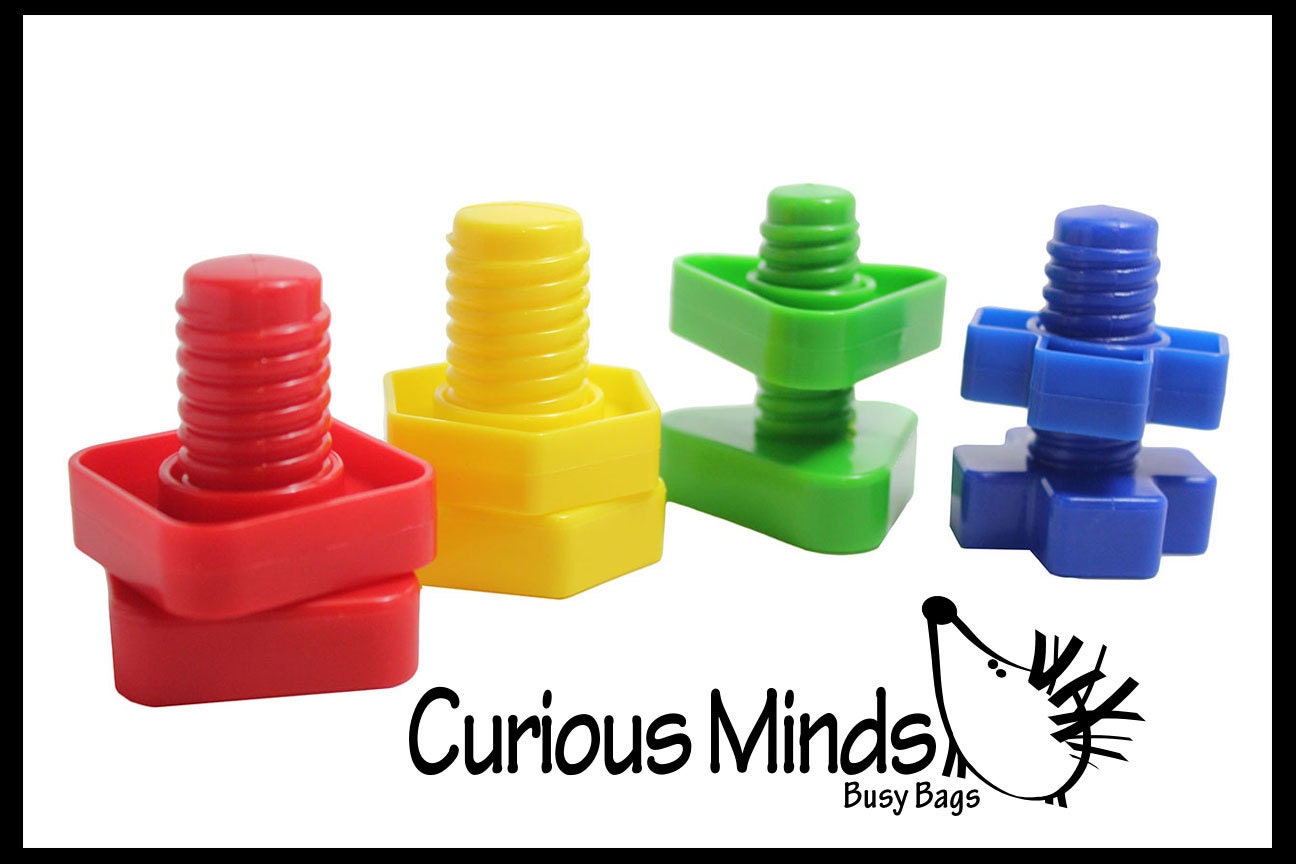 Large Nuts And Bolts : Large plastic nuts and bolts toy fine motor montessori