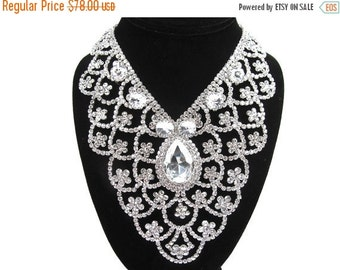 SALE 30% OFF Silver Crystal Rhinestone Scollop Bib Bridal Statement Necklace, Wedding Necklace