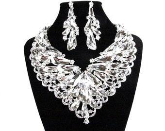 SALE SALE ~ Bridal Statement Necklace Set, Chunky Crystal Bridal Necklace, Crystal Wedding Necklace, Crystal Evening Necklace E - 163