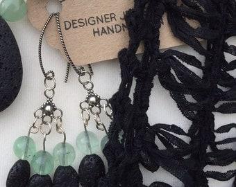 Black Lava Stone Earrings, Green Gemstone Earrings, Chandelier  Earrings, Gemstone Lava Earrings, Handmade Jewellery, Edinburgh Jewellery