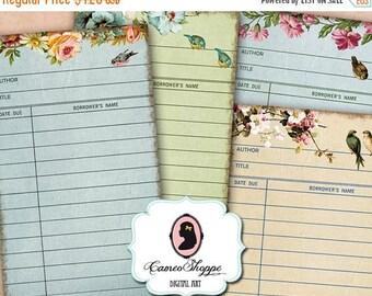 75% OFF SALE LIBRARY Cards Digital Collage Sheet Flower romance Set of 8 Digital Journaling ...
