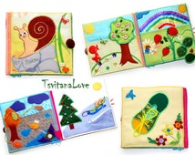 Ready to ship - 6 pictures in the book - Busy Book - Soft book for toddlers - Shapes, Colors, Seasons - mini-pictures - buttons, zippers