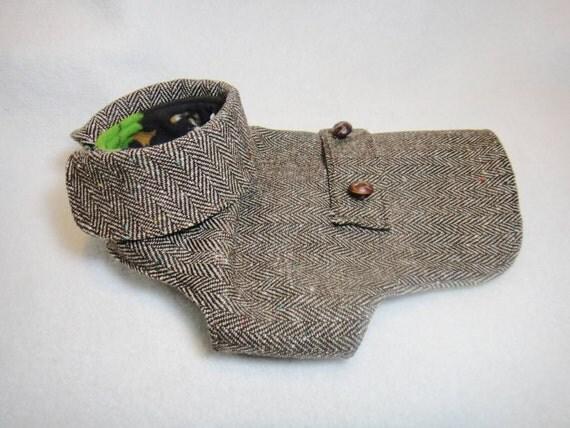 Small dog tweed coat with fleece lining Dark brown wool blend herringbone coat Fleece lined tweed jacket pet winter coat (size: SS -SM)