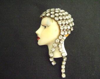 Lady Brooch with Rhinestones Hat/Hair Brooch
