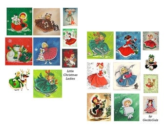 Little Christmas Ladies Digital Collage Set