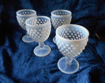 4 Opalescent Duncan and Miller Goblets