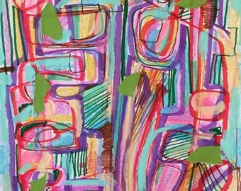 Rainbow abstract, geometric abstract, modern abstract expressionism, abstract collage, interior design art, boho art, contemporary drawing
