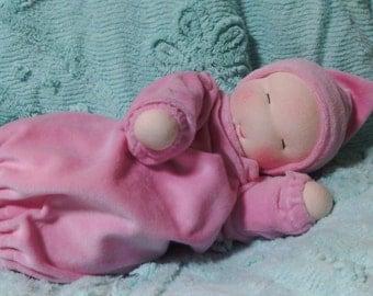 Custom Waldorf style bunting baby doll, weighted doll, cuddle doll