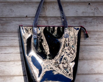 Mana Neon Black and Grey/ Neon Foil Bag / Foil Handbag/ Fashion Beach Bag/ Foil Tote Bag/Fuchsia zipper