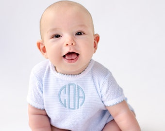 Baby Boy Christening Outfit - Monogrammed Knit Outfit - Baby Boy Coming Home - Baby Boy Dedication Outfit - Boy Monogrammed Coming Home