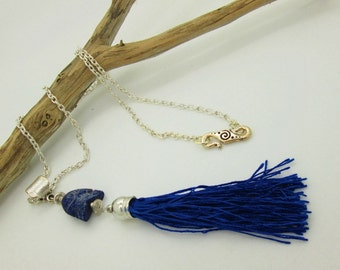 Boho Blue Tassel Necklace with Lapis Lazuli Fish Bead, Rustic Tassel Necklace