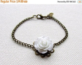 White Rose Bracelet Bronze Filigree Flower Cabochon Bracelet Bridesmaid Jewelry Wedding Bridal Gift Ivory Pearl
