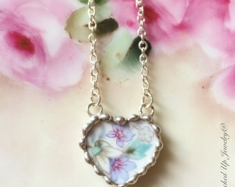 Broken China Jewelry, Broken China Necklace, Noritake China Heart Necklace, Violette, Purple Violets, Recycled China