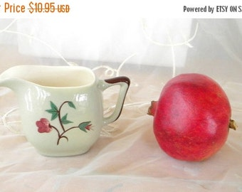 50% OFF SALE Sage Green and Burgundy Floral Creamer, Vintage Item, Shabby Chic, Mid Century