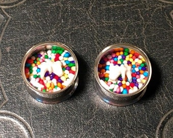 REAL Raccoon Teeth Sweet Tooth Candy Sprinkles Specimen PAIR Resin Taxidermy Double Flare Steel Tunnel Gauge Plugs 18mm