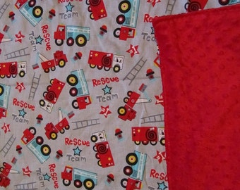 Gray/Red Fire and Rescue Trucks Cotton / Minky Baby/Toddler Blanket