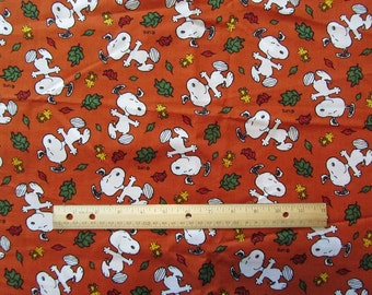 Orange Snoopy/Woodstock Fall Leaves Cotton Fabric by the Half Yard