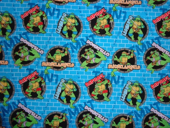 Blue Teenage Muntant Ninja Turtle Cotton Fabric By The