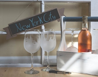 Etched New York City (NYC) Skyline Silhouette Wine Glasses or Stemless Wine Glasses (set of 3 or 4)