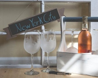 Etched New York City (NYC) Skyline Silhouette Wine Glasses or Stemless Wine Glasses