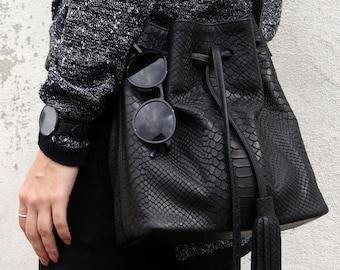 Bucket Bag Black Leather Python Print