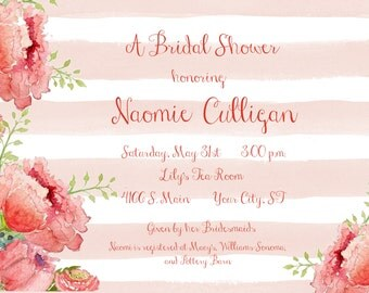 Floral Stripe Shower Invitation