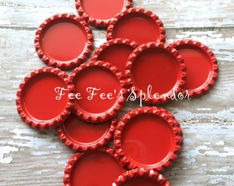 "Flattened bottlecaps - Red- DIY hairbow center- Flattened bottle cap- * 25 mm 1"" * additional quantities available"