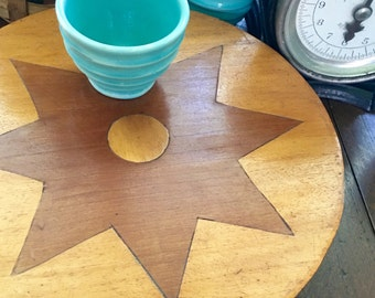 Vintage Hand Crafted Lazy Susan w/ 8 Point Star, Primitive Lazy Susan, Rustic Kitchen