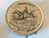 VINTAGE PROPERT'S Leather and Saddle Soap Tin- Lovely Beige and Black Graphics - Equestrian Theme - Horse Lovers Must Have Collectible