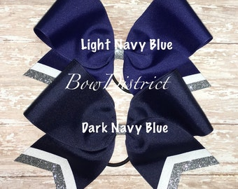 "3"" Light or Dark Navy Blue Team Cheer Softball Volleyball Bow with White and Silver Glitter Tail Stripes"