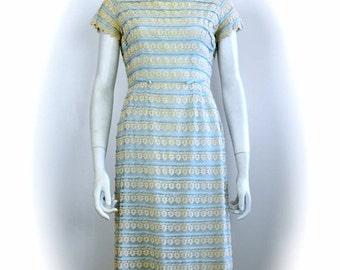 ON SALE vintage 1950s lace dress: ribbon and lace dress / 1950s lace dress / lace wiggle dress / lace party dress / 50s lace dress / pale bl
