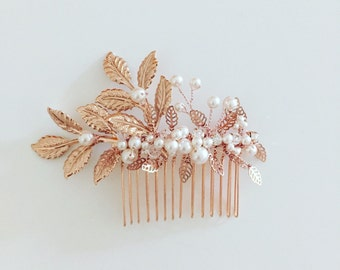 Rose Gold Bridal Hair Comb, Twigs and Floral hair comb, pearls hair comb, Wedding Accessory, bridal comb, Crystal, pearl hairpiece, #1006