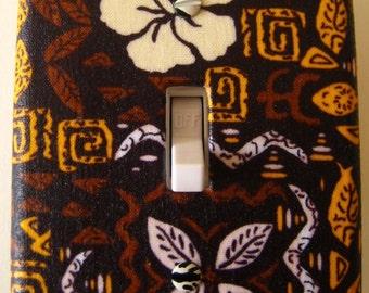 "CLEARANCE  Vintage Hawaiian Print Cloth Covered Switch-plate ""Retro Aloha"""