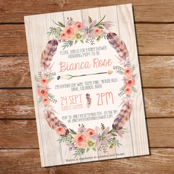 boho baby shower baby shower invitation for a girl bohemian tribal
